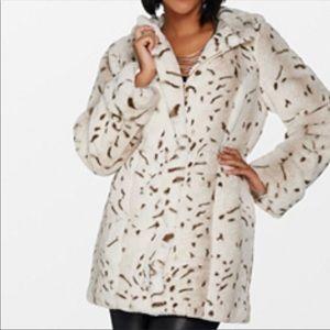 Dennis Basso Zip Front Faux Fur Coat with Hood